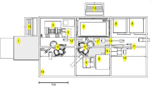 Plan diagram of Adam's laboratory robotic system. Layou