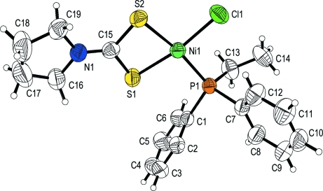 Molecular structure and atom-numbering scheme for the t
