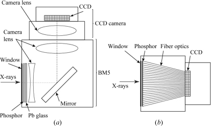 Design of the CCD detectors. (a) Lens-coupled detector