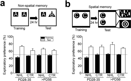 No effects of NHL on long-term memory.(a) A schematic d