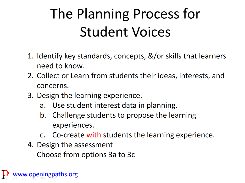 Planning for Student Voices