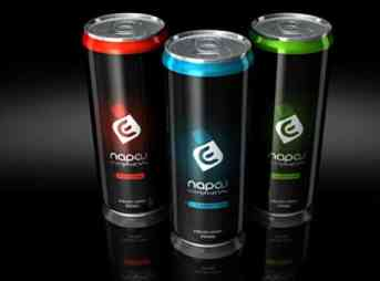 Three black cans of Energy Drinks