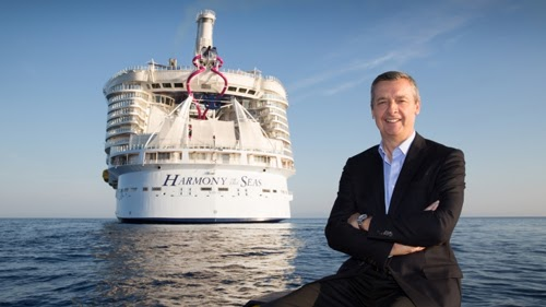 Royal Caribbean International's President and CEO, Michael Bayley, sends off the cruise line's newest ship, Harmony of the Seas.