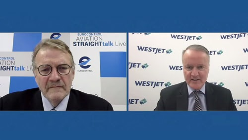 WestJet CEO Ed Sims (right) in conversation with host, Andrew Charlton, during Eurocontrol's Aviation Straighttalk Live episode.