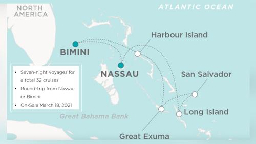Crystal is sailing two Bahamas' itineraries; round-trip Nassau or round-trip Bimini
