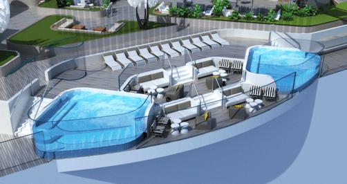 Cantilevered pools on Celebrity Beyond
