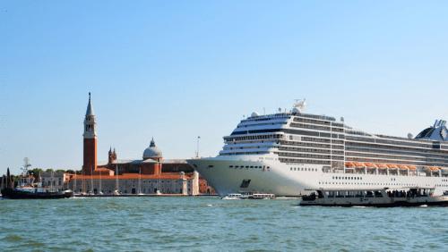 A cruise ship in Venice.