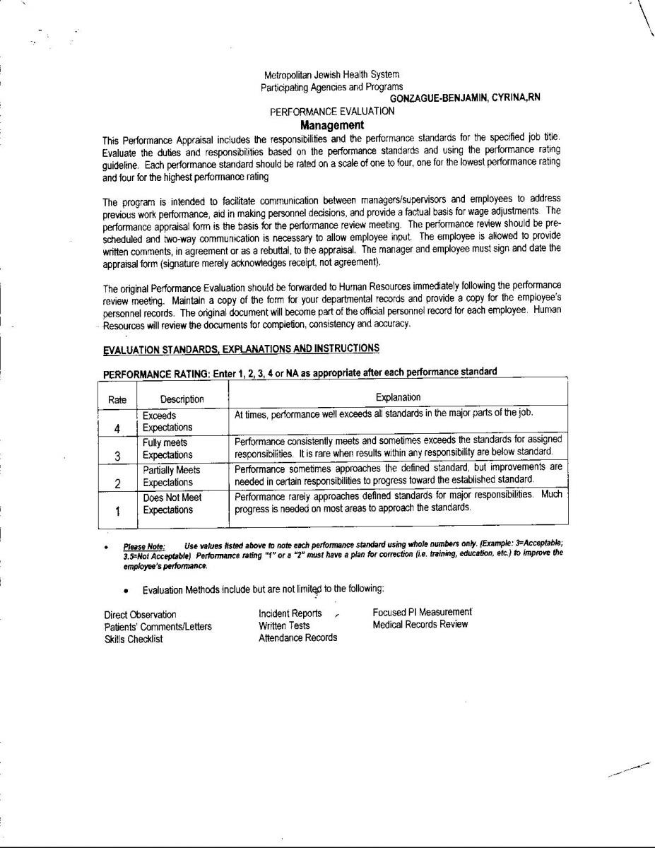 Copies Of Work Evaluations Cyrina Gonzague Benjamin's