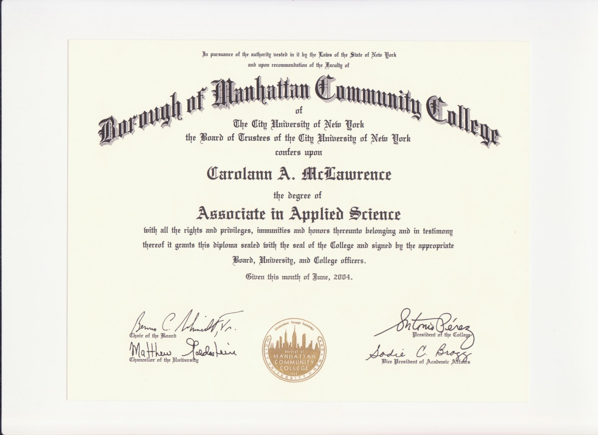 EducationDegree Certification  Carolann Mclawrences ePortfolio