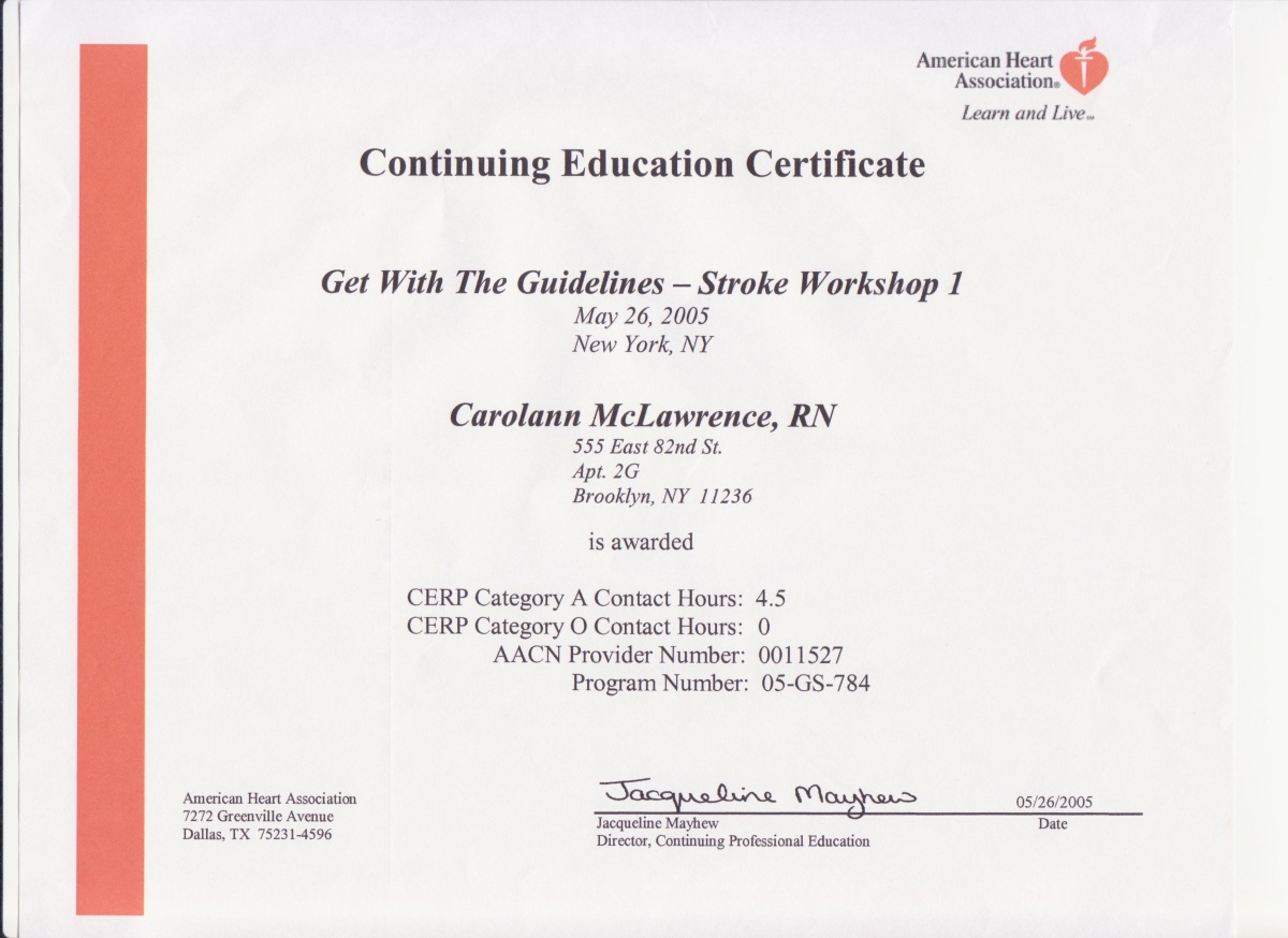 Certificates of Continuing Education Courses  Carolann