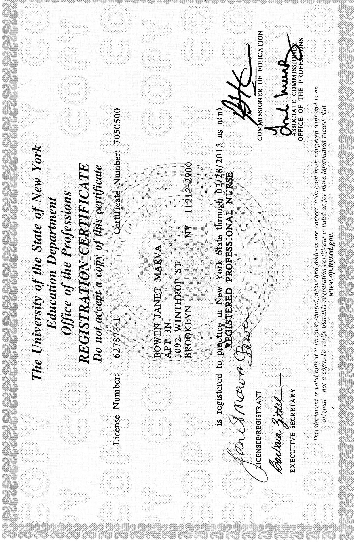 Nursing Registration Certificate  Janet Bowens ePortfolio