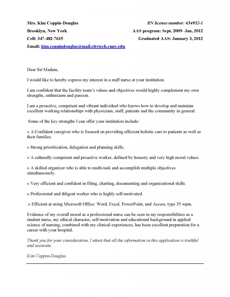 Cover Letter KIM COPPIN DOUGLAS's EPortfolio