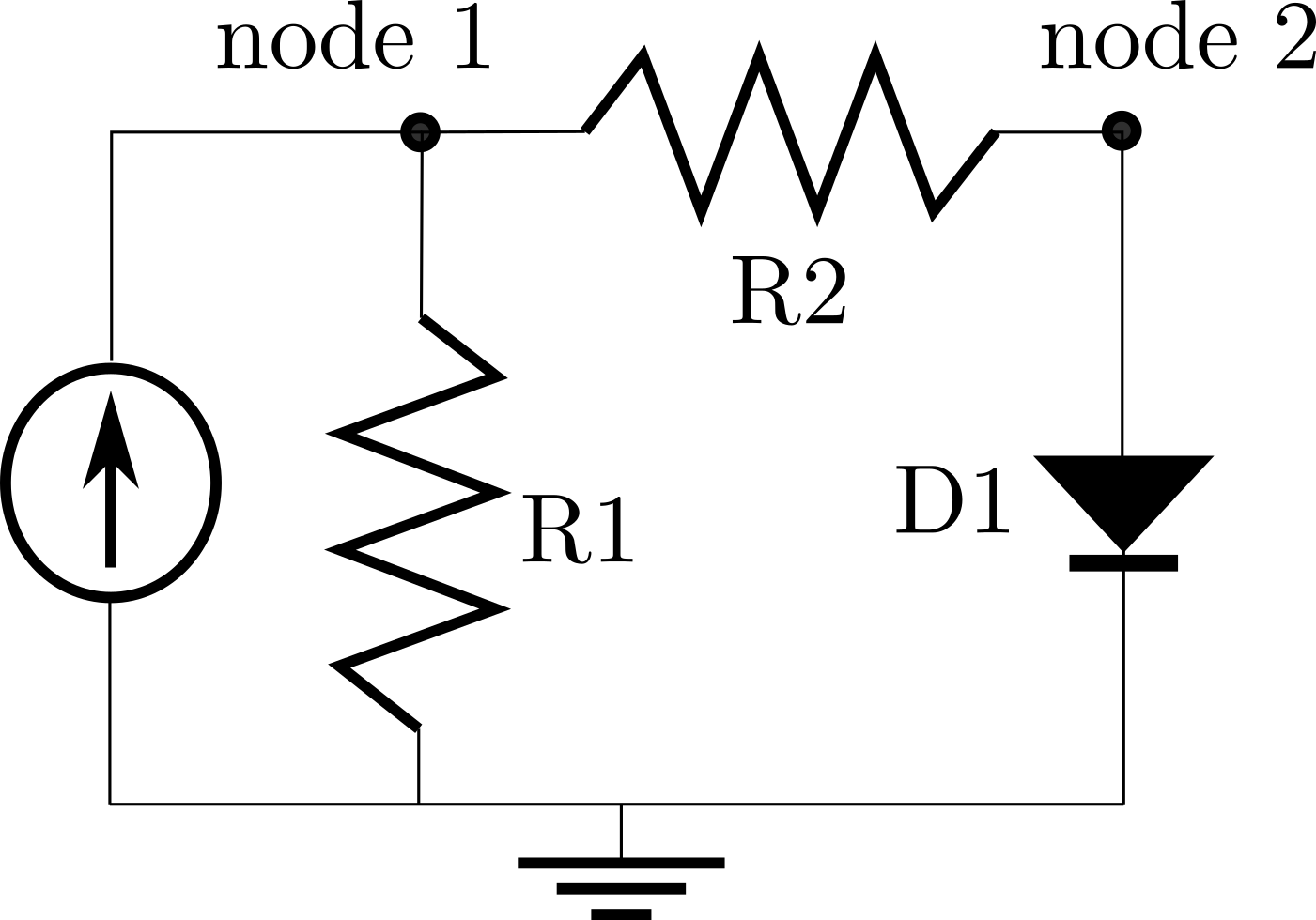 Converging an Implicit Model: Nonlinear circuit analysis