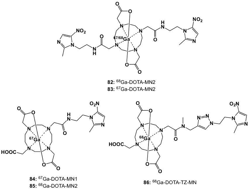 Figure 32. 67/68Ga chelated with bismetronidazole-DOTA (82, 83) monometronidazole-DOTA (84, 85) and DOTA-triazole-metronidazole (86) derivatives.