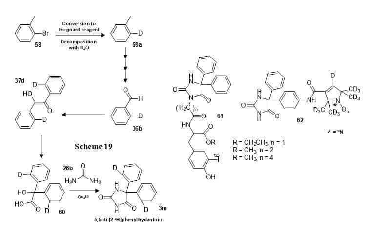 Figure 12. Synthesis of 5,5-di-[2-2H]phenylhydantoin (3m) (Scheme 19) and structures of phenytoin derivatives with 125I (61) and 15N,2H labels (62).