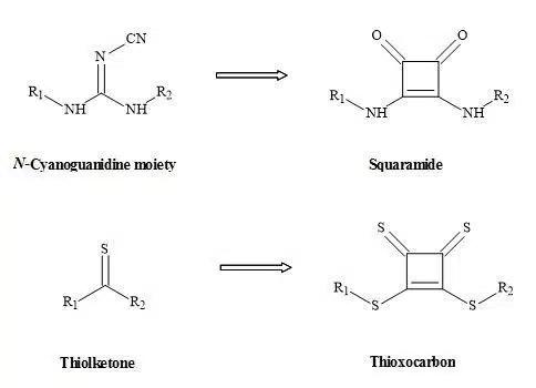 Figure 26. Squaryl metaphors of thiolketones and N-cyanoguanidine