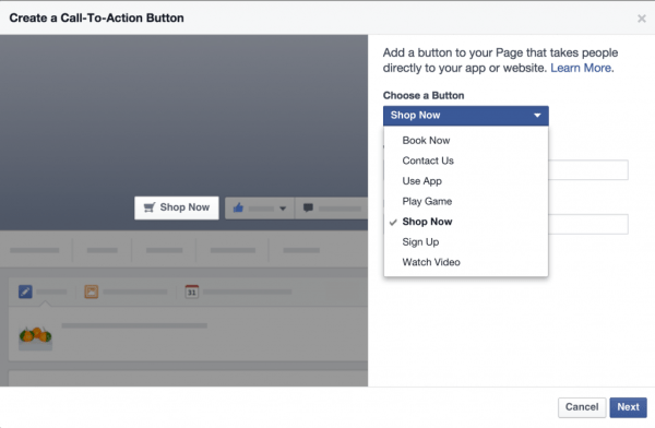 Facebook Call-to-action button options