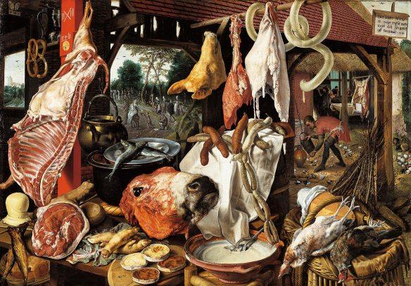 Metzgerladen mit Flucht nach Ägypten. Öl auf Holz, 1551; Kunstsammlung der Universität Uppsala, Sweden