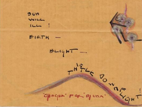 Elsa von Freytag-Loringhoven, thistle down flight (detail). Djuna Barnes Papers, Special Collections, University of Maryland Libraries