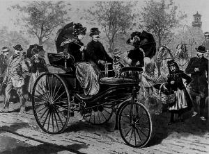 Dieser Holzschnitt ist die erste Abbildung von Benz' Patent-Motorwagen und wurde 1888 in der Leipziger Illustrierten Zeitung veröffentlicht.