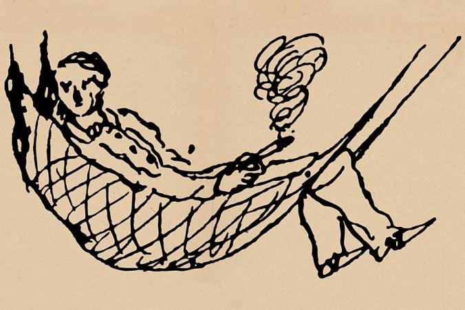 Friedrich Engels in Hängematte Zigarre rauchend