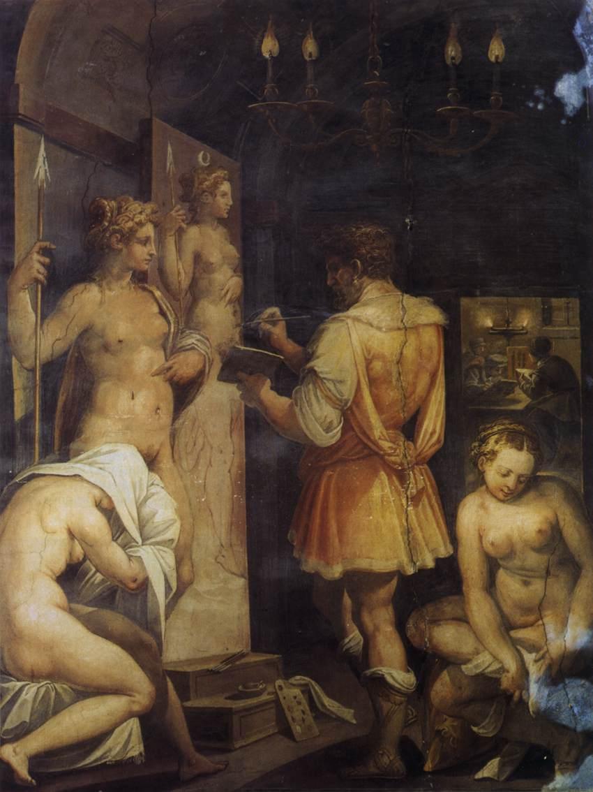 Giorgio BVasari, The Studio of the Painter, ca. 1563, Fresco, Casa Vasari, Florenz