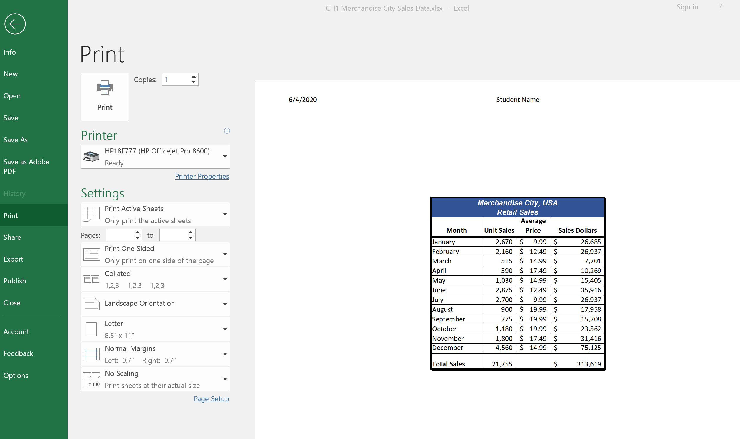 1 4 Printing Beginning Excel