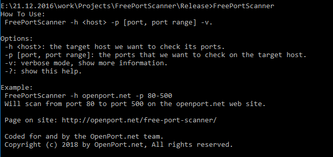 free port scanner help screen
