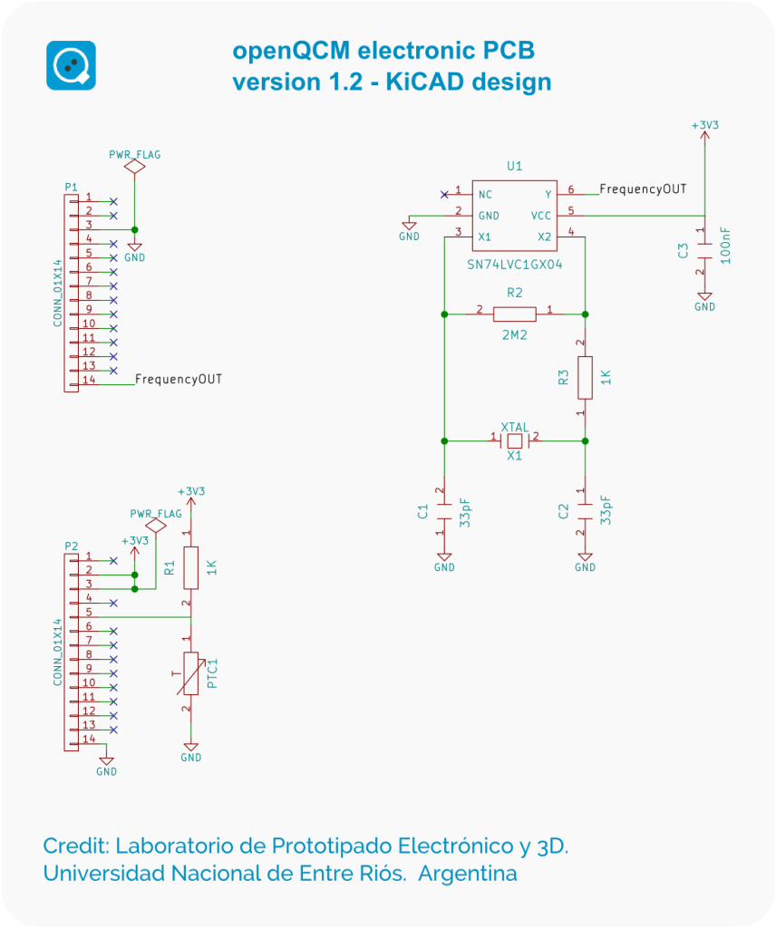 openQCM electronic version 1.2 schematics designed using the open source KiCAD EDA software
