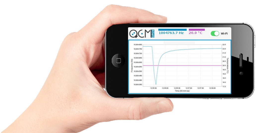 QCM, Quartz Crystal Microbalance, wireless, Wi-FI, Frequency, openQCM, Software, Resonance, sensor, smartphone, tablet