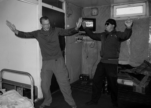 Learning to dance 'Tajik style' at the border post.