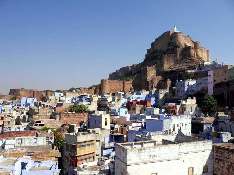 Mehrangarh Fort over the blue city of Jodhpur