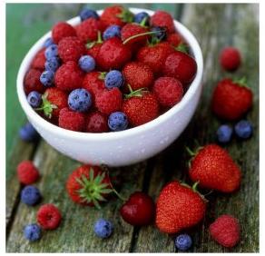 Strawberries-Raspberries-Blueberries-and-Cherries-on-Rustic-Table-Posters