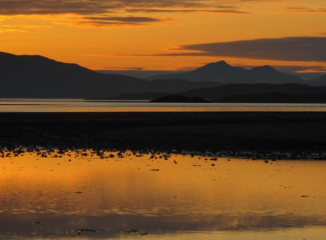 Paps of Jura at sunset from Crinan Ferry. Pic credit: Forbes Johnston on Flickr