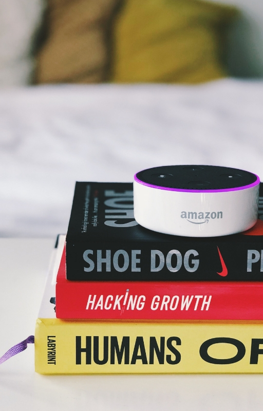 Amazon Echo device powered by Alexa kept on a pile of books