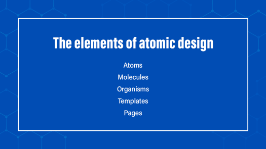 The elements of Atomic design written on a blue background