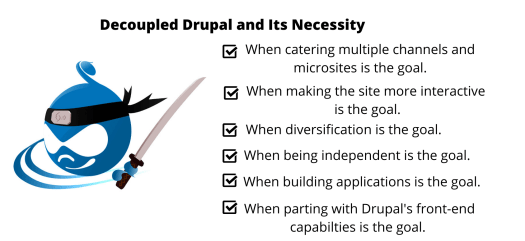 The Drupal logo is on the bottom left and the need for Decoupled Drupal architecture is highlighted in the rest of the space.