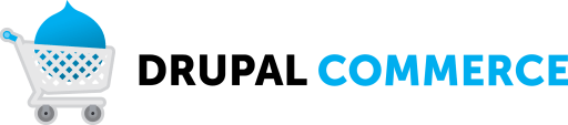 Image of a cart with a blue Drupal logo in it. Where the text is beside it written as Drupal Commerce