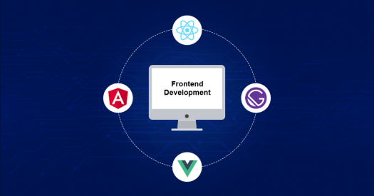 Desktop encircled by 4 front-end technologies