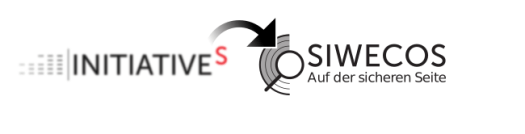 logo of initiative-s where an arrow is pointing towards the magnifying glass of SIWECOS logo that is superimposed over concentric semicircles