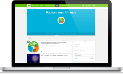 Image of a laptop where the homepage of Pachamama Alliance is placed