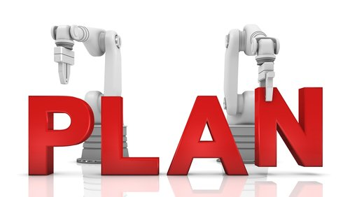 Image of text saying plan in red color with two robotic  hands