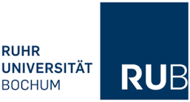 Image of a square which is divided into two parts the left side is white in color where RUHR university is written in German and the right side is blue in color with RUB written in white