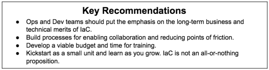 'Key recommendations' written inside a box at the top and some bullet points follows after that to explain Infrastructure as Code