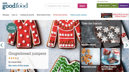 Homepage of BBC goodfood with the images of red and green coloured breads shaped in the form of sweaters