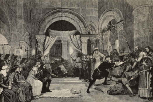 blacka and white image of people acting in a play