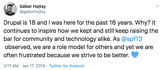 Screengrab of a Drupal 2019 tweet with a name and image on top left and text below it