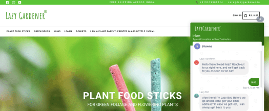 A web design with a green backdrop is shown with an ongoing chat on the side.