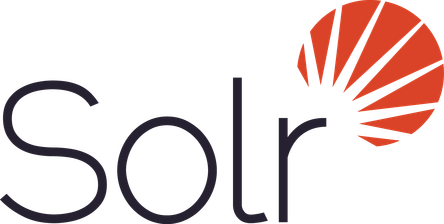 Logo of Apache Solr with the word 'Solr' written on left and an icon representing Sun at the top right