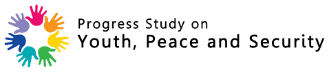 """Image of 7 colorful hands in circle position where the text is written """"progress study on youth, peace, and security"""